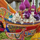 Thai orchid exuberance in a traditional boat