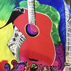 Colorful guitar and name graphics