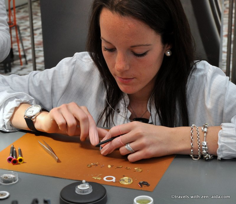 One of the hundreds of steps needed in putting a watch together
