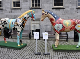 Life size horses outside the museum-a community project